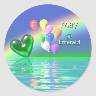 May Birthday Emerald Heart Classic Round Sticker
