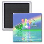 May Birthday Emerald Heart Refrigerator Magnet