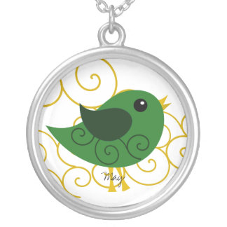 May  Birthstone Bird Silver Plated Necklace