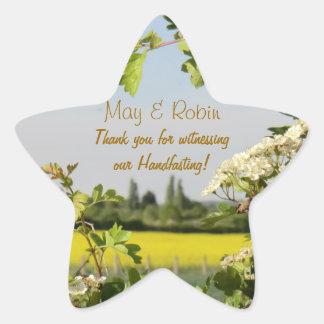 May Blossom Handfasting Pentagram Thanks Sticker