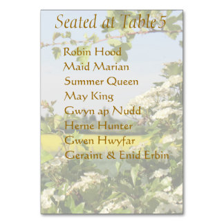 May Blossom Handfasting Table Card with Guest List