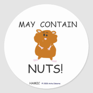 May Contain Nuts Syrian Hamster Classic Round Sticker