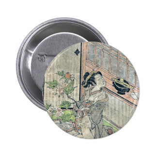 May Cuckoo by Isoda, Koryusai, Ukiyoe Buttons