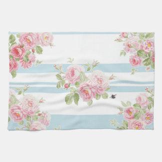 May Day Summer Roses aqua stripe Kitchen Towel
