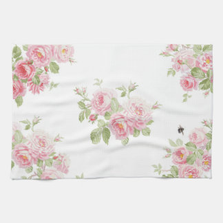May Day Summer Roses bleached Linen Kitchen Towel
