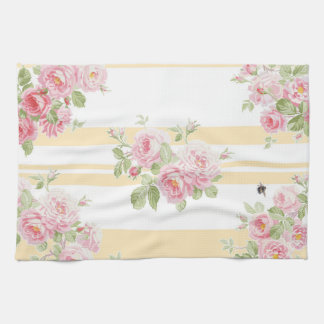 May Day Summer Roses buttercup stripe Kitchen Towel