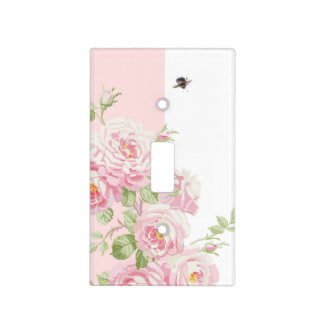 May Day Summer Roses peony stripe Light Switch Cover