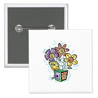 May Flowers Jack in the Box 2 Inch Square Button
