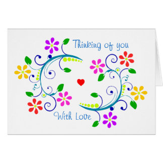 May God Bless You & Your Family - Flowers & Heart Card
