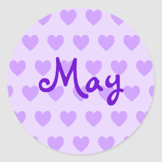 May in Purple Classic Round Sticker