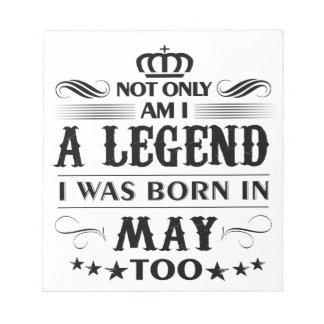 May month Legends tshirts Notepad