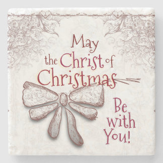 May the Christ of Christmas Be With You, Artistic Stone Beverage Coaster