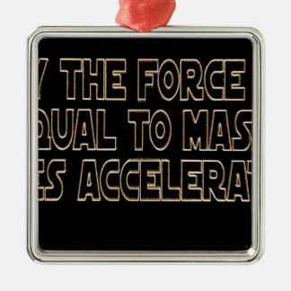 May the Force Be Silver-Colored Square Ornament