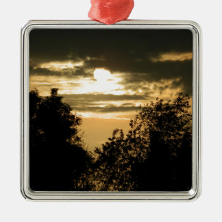 May the Glory of God shine upon you sunset photo Silver-Colored Square Ornament