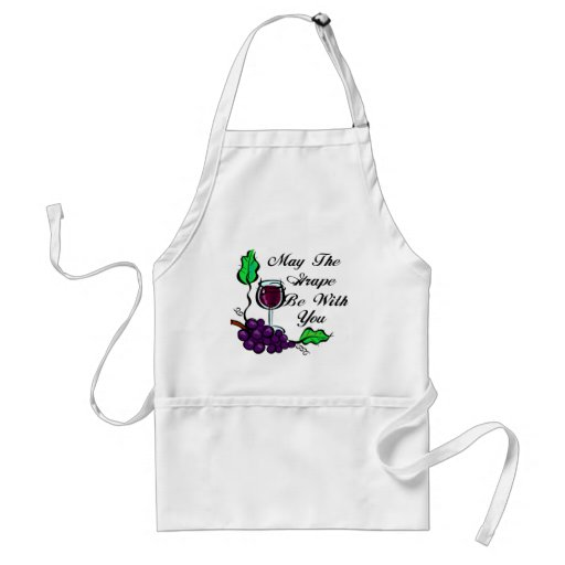 May The Grape Be With You black text Aprons