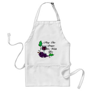 May The Grape Be With You black text Standard Apron