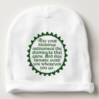May your blessings outnumber the shamrocks, Irish Baby Beanie