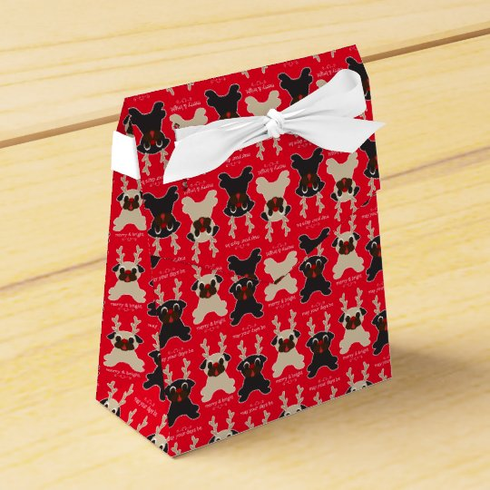 May Your Days Be Merry and Bright Pug Reindeer Favor Boxes