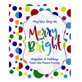 May Your Days Be Merry & Bright Colorful Circles 3 Card