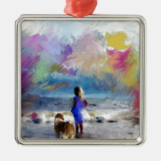 Maya and girl on beach.jpg Silver-Colored square ornament