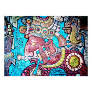 Maya Aztec Indian High Priest Mexican Art Poster