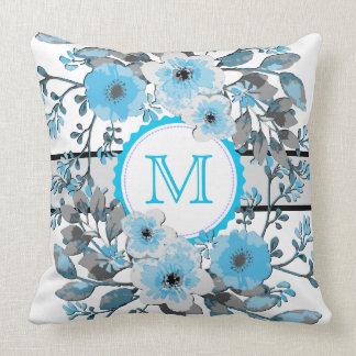 Maya Blue Floral Vintage Monogram Throw Pillow