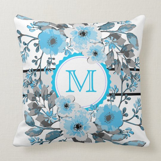 Maya Blue Floral Vintage Monogram Throw Pillow