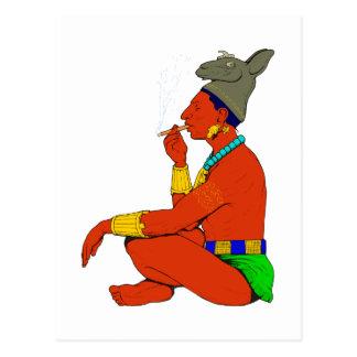 Maya Indian cigar smoke Postcard