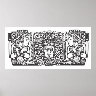 Maya Triptych Woodblock A Poster