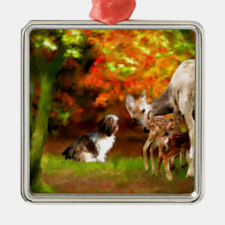Maya with deer_Painting.jpg Silver-Colored Square Ornament