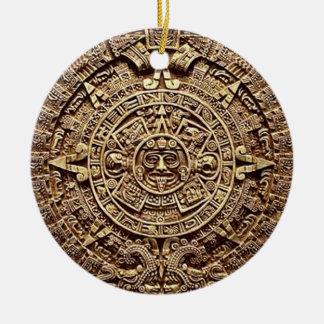 mayan 2012 round ceramic ornament