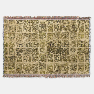 Mayan and aztec glyphs gold on vintage texture throw blanket