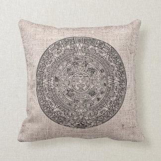 Mayan Aztec Sun Calender on Burlap Throw Pillow