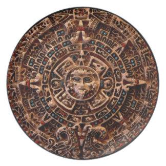 Mayan-Aztec Sun Disk Ancient Calendar Art Plate