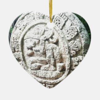 Mayan Calendar Ceramic Heart Ornament