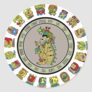 Mayan-calendar Death God Classic Round Sticker