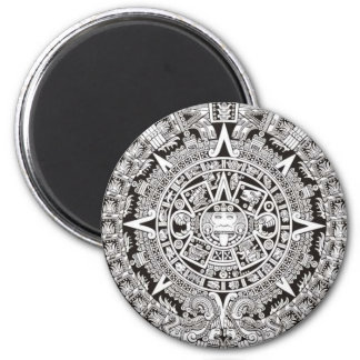 Mayan Calendar Magnet Black and White