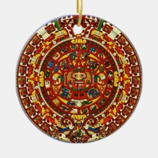 mayan calendar round ceramic ornament