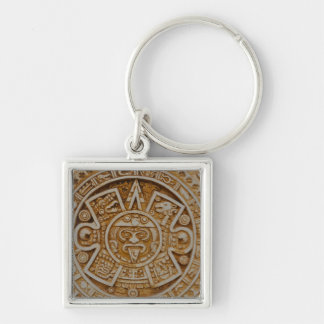 Mayan Calendar Silver-Colored Square Keychain