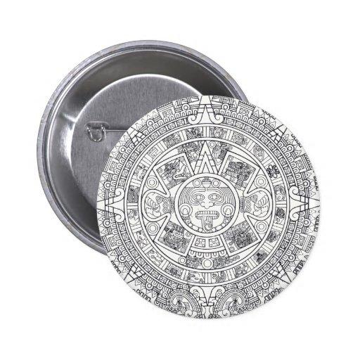 'Mayan Calendar Stone' Buttons