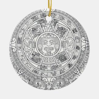 'Mayan Calendar Stone' Round Ceramic Ornament