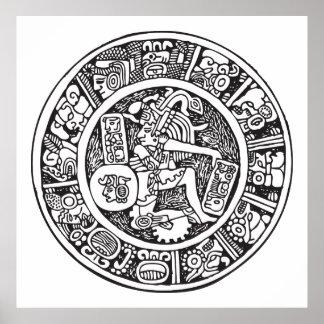 Mayan circle, Mexican hieroglyph(Maya) Print