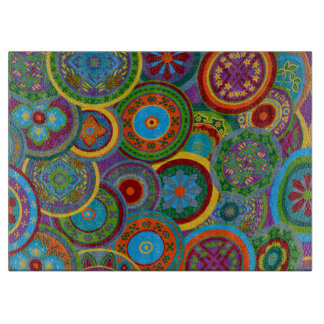 Mayan Circle Pattern Background Cutting Board