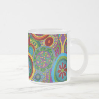 Mayan Circle Pattern Background Frosted Glass Coffee Mug