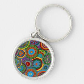 Mayan Circle Pattern Background Keychain