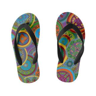 Mayan Circle Pattern Background Kid's Flip Flops