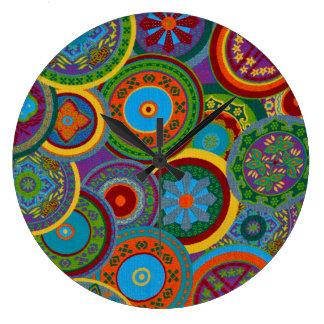 Mayan Circle Pattern Background Large Clock