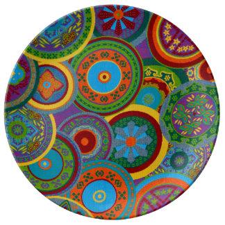 Mayan Circle Pattern Background Porcelain Plate