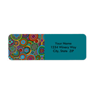Mayan Circle Pattern Background Return Address Label