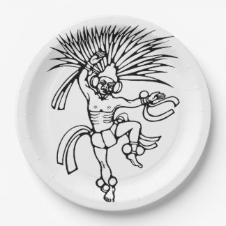 Mayan feather dancer - Dancer Plate 9 Inch Paper Plate